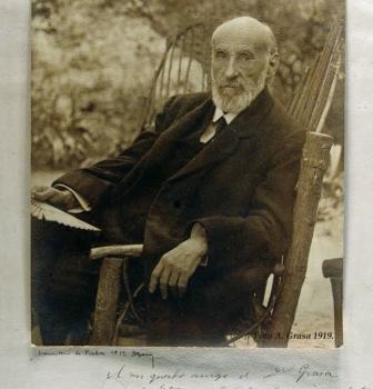SANTIAGO RAMÓN Y CAJAL Y AURELIO GRASA EN EL MONASTERIO DE PIEDRA   EN 1919