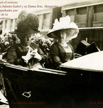 S.A.R.LA INFANTA ISABEL EN LA FÁBRICA DE TRANVÍAS CARDE Y ESCORIAZA DE ZARAGOZA, FOTO GRASA 1912.